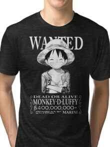 WANTED Luffy - White Tri-blend T-Shirt