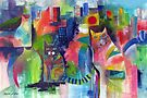 Abstract Cats Acrylics by Karin Zeller