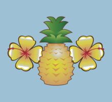 Tropical pineapple with two hibiscus Hawaiian flowers Baby Tee