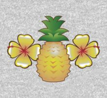 Tropical pineapple with two hibiscus Hawaiian flowers One Piece - Long Sleeve