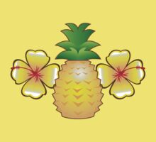 Tropical pineapple with two hibiscus Hawaiian flowers One Piece - Short Sleeve