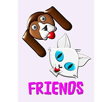 Hound Dog and Pussy Cat Friends T-shirt, etc. design Photographic Print