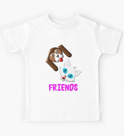 Hound Dog and Pussy Cat Friends T-shirt, etc. design Kids Tee