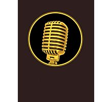 Vintage Gold Microphone Sign Photographic Print