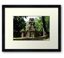 Ancient Khmer Gate - Angkor, Cambodia. Framed Print