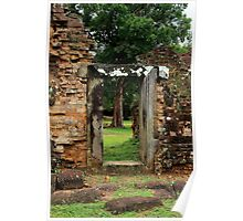 Door Frame in Angkor Thom - Cambodia. Poster