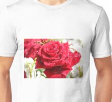 Red Rose, Raindrops and Sun Unisex T-Shirt