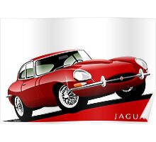 E-Type Jaguar Series 1 Coupe red Poster