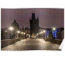 Charles Bridge  Prague at Night Poster