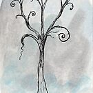 Gothic Tree - ACEO Pen &amp; Ink Watercolor Painting by Jacquie Gouveia