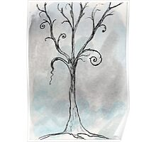 Gothic Tree - ACEO Pen & Ink Watercolor Painting Poster