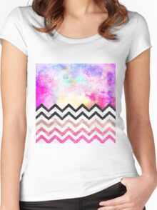 Watercolor nebula space pink ombre wood chevron  Women's Fitted Scoop T-Shirt