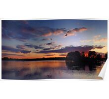 English Lakeside Sunset - Caldecotte, Buckinghamshire Poster