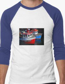 Fishing Boats moored at Pittenweem Harbour Men's Baseball ¾ T-Shirt