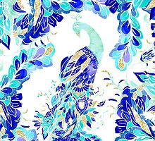 Bright blue turquoise gold elegant peacock pattern by GirlyTrend