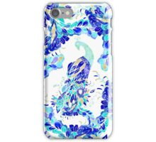 Bright blue turquoise gold elegant peacock pattern iPhone Case/Skin