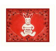 Cute Bunny Happy Easter Drawing Illustration Design Art Print