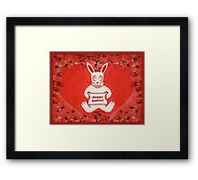 Cute Bunny Happy Easter Drawing Illustration Design Framed Print