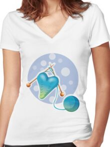 Pretty knitted heart Women's Fitted V-Neck T-Shirt