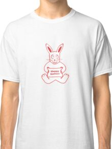 Cute Bunny Happy Easter Drawing in Red ans White Colors Classic T-Shirt