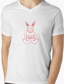 Cute Bunny Happy Easter Drawing in Red ans White Colors Mens V-Neck T-Shirt