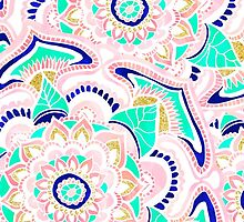 Summer pastel turquoise pink gold floral mandala by GirlyTrend