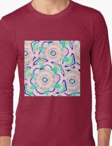 Summer pastel turquoise pink gold floral mandala Long Sleeve T-Shirt