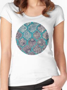 Moroccan Floral Lattice Arrangement - teal  Women's Fitted Scoop T-Shirt