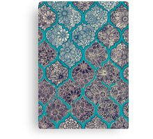 Moroccan Floral Lattice Arrangement - teal  Canvas Print