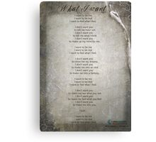 Poem for Pink Panther - What I Want Canvas Print