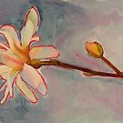 Magnolia, watercolor and mixed media on paper by Sandrine Pelissier