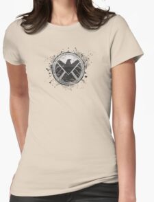 S.H.I.E.L.D Emblem (in gray with white background) Womens Fitted T-Shirt