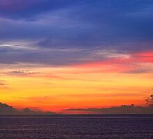 Colorful Dawn Sky over the Bahamas Sea by Roupen  Baker