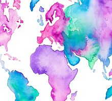 Modern world map globe bright watercolor paint by GirlyTrend