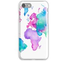 Modern world map globe bright watercolor paint iPhone Case/Skin