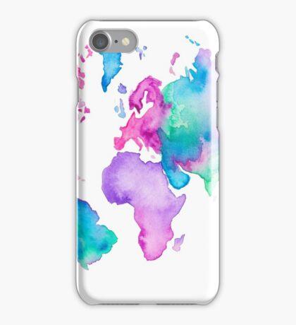 Modern world map globe bright watercolor paint iPhone Case/Skin