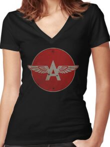 Flying A Gasoline Red Circle Rusty version Women's Fitted V-Neck T-Shirt