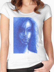 Blue Women's Fitted Scoop T-Shirt