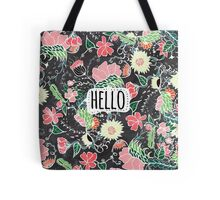 Pastel preppy flowers Hello typography chalkboard Tote Bag