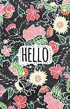 Pastel preppy flowers Hello typography chalkboard by GirlyTrend