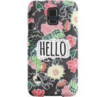 Pastel preppy flowers Hello typography chalkboard Samsung Galaxy Case/Skin