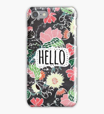 Pastel preppy flowers Hello typography chalkboard iPhone Case/Skin
