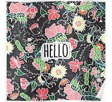 Pastel preppy flowers Hello typography chalkboard Poster