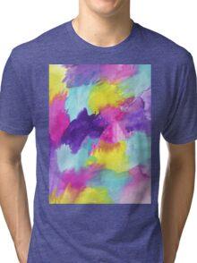 Watercolors Pink Blue Purple Yellow Tri-blend T-Shirt