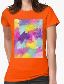 Watercolors Pink Blue Purple Yellow Womens Fitted T-Shirt