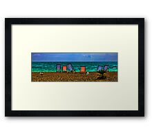 Deck Chairs and Gulls on the Beach at Brighton Framed Print