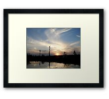 Sunset with Ducks Framed Print