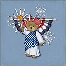 Patriotic Liberty Bear on Blue by SpiceTree