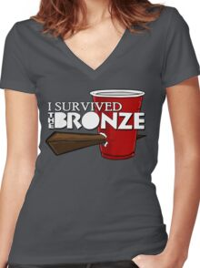 I Survived the Bronze Women's Fitted V-Neck T-Shirt