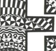 Letter E Black and White Sticker